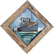 An Edwardian Reverse Painting On Glass Picture of RMS Mauretania