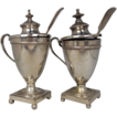 A Pair Of Silver Condiment Urns With Spoons