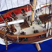 Scratch Built Wooden British Royal Navy 12 Gun Rigged c1800 Cutter Model Ship