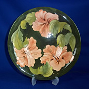 Moorcroft Pottery Hibiscus Design Green Bowl c1950-83