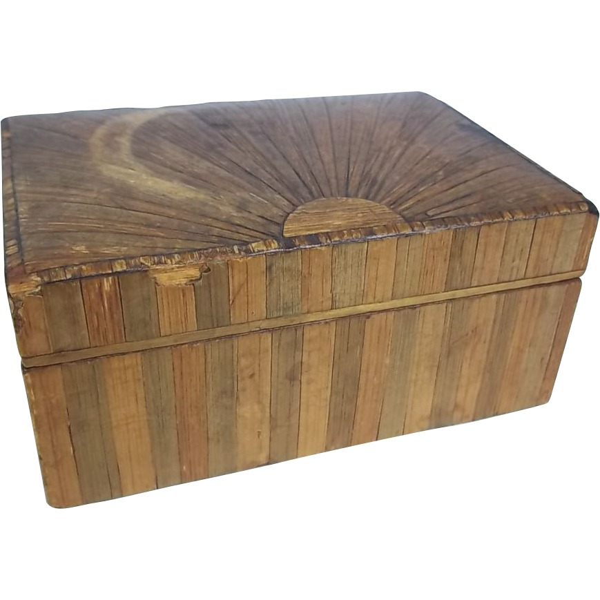 Regency Box Circa 1810 Decorated With Straw Work In A Sunburst Pattern