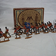 Circa 1900 M F Ltd. British Guard Grenadiers 1815 Vintage Tin/Lead Flat Soldiers, Boxed