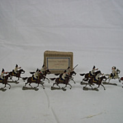 c1900/20 Prussian Gendarmes Attacking 1815 Vintage Tin Flats 10 Pieces. Boxed
