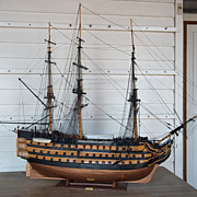 Mid-20th Century Large Plank On Frame Model Of HMS Victory 1/38th Scale