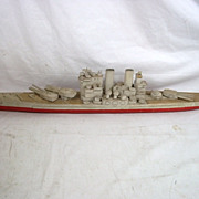 Old Sailors Scratch Built Model Of A Battleship 'HMS Thunderer' Circa WW2