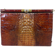 Vintage Crocodile Skin Ladies Clutch Handbag c1950