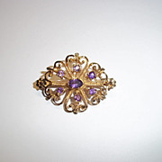 Victorian 9 Ct Yellow Gold and 0.67 CTW Amethyst Brooch, 4.8 g