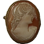 Hand Carved Cameo Brooch/Pendent Set In 9Ct Gold B'Ham 1979