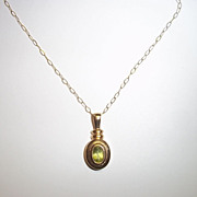 9Ct Gold & 0.50Ct Peridot Pendant With 9 Ct Gold Chain