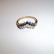 9ct Gold Wishbone Shaped Sapphire And CZ Ring P 1/2 US Size 8