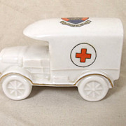 WW1 Shelly Crested China Red Cross Van - Saltburn-By-The-Sea Crest