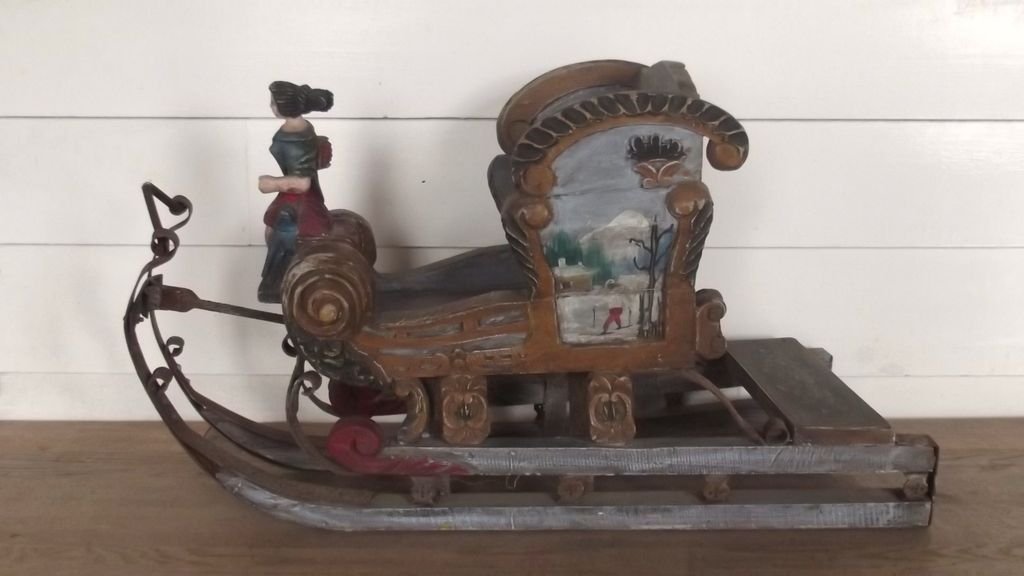 Circa 1900 austrian child s wood carved hand painted sleigh from