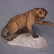 Beswick Puma On A Rock No.1702 Tawny Colour, Matt Finish