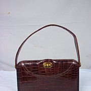 Vintage 1950's Crocodile Brown Handbag With Purse & Mirror