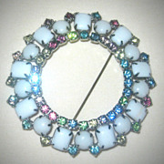 Beautiful Vintage Circle of Milk Glass and pastel Rhinestone Brooch Pin