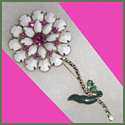 Milk Glass Flower with Fuchsia Pink and green Rhinestones brooch pin