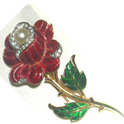 SALE Crown Trifari Red Rose with pave stones and a faux pearl in the top of the flower.