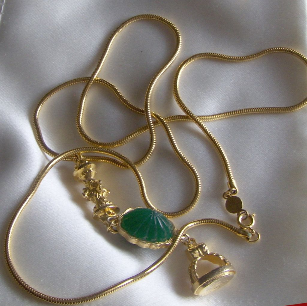 Faux Long Gold Chain and Pendant with Green Jelly Belly Accessocraft NYC