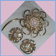 "SALE Sarah Coventry set  ""ALLUSION"" Beautiful Pin Brooch and Earrings"