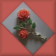 SALE Coral colored Floral Brooch With green Enamel leaves
