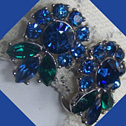 Crown Trifari Blue and Green Flower  Rhinestone Earrings