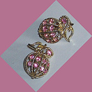 SALE Coro Pink Rhinestone Caged in Faux Gold Fruit Earrings