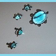 SALE Blue Jelly Belly Turtles... One set Earrings, One Mother, and two Baby turtles.