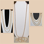 SALE Creamy Colored Necklace of Faux Pearls, 52 Inches Long