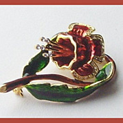 SALE Beautiful 1940's Enamel Red Enamel Bell Flower pin/brooch  with small clear stones.