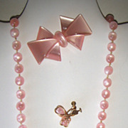 "Pink Moonglow ""Set"", Necklace, Earrings, Pin/Brooch"