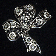 SALE Trifari Faux Silver and Clear Rhinestone Bow
