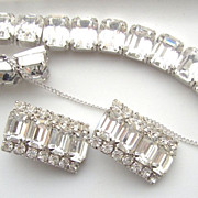 SALE Weiss Emerald cut clear colored Bracelet and Earrings