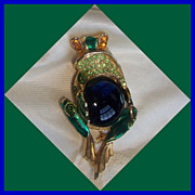 SALE Beautiful unsigned Mazer of Jomaz Jelly belly, rhinestone, and enamel frog.