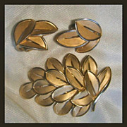 SALE Crown Trifari Faux  gold  Brooch / Pin and earrings with  matte and shiny finish
