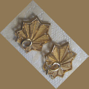 SALE Crown Trifari fan shaped leaf earrings in faux gold