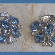 Crown Trifari Blue and clear rhinestone earrings faux silver