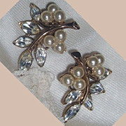 SALE Crown Trifari Pat. Pending Earrings, faux pearls and marquise shaped clear stones.