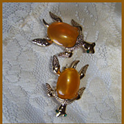 2 piece set of Vintage Gerry's Turtle Pins  goldish orange cabochons
