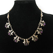 SOLD Vintage Art Deco Amethyst Sterling Silver Repousse Necklace Mexico