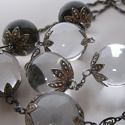 SOLD Rare Antique Victorian Pools of Light Rock Quartz Necklace