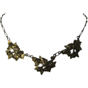 Art Nouveau Gilt Ivy Leaves Necklace