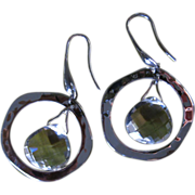 Rock Quartz Sterling Silver Vintage Pierced Earrings RLM