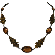 Art Deco Oak Leaves Crystal Vintage Necklace