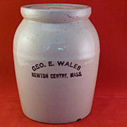 Geo. E. Wales Newton Centre, Mass. Pottery Crock
