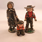 Vintage Cast Iron Amish Man Woman & Child Figures