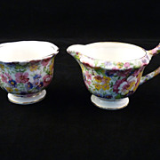 "SALE Chintz ""Du Barry"" Creamer and Sugar Set"
