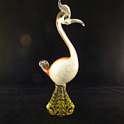 SALE Vintage Murano Hand-formed Seguso Infused Gold Flecked Water Bird