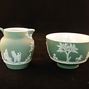 SALE Wedgwood Jasperware Green Cream & Sugar