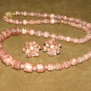 Vintage Mauve Art Glass Necklace and Earring Set