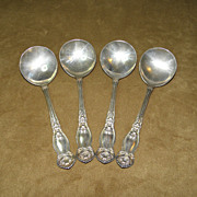 Vintage 1910 WM Rogers & Son Set of Four Orange Blossom Soup/Bouillon Spoons
